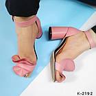 Женские розовые босоножки, натуральная кожа, фото 3
