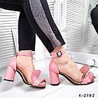 Женские розовые босоножки, натуральная кожа, фото 6