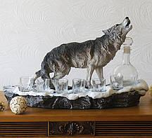Штоф волк Вожак ликеро-водочный набор  Гранд Презент ШП410цв