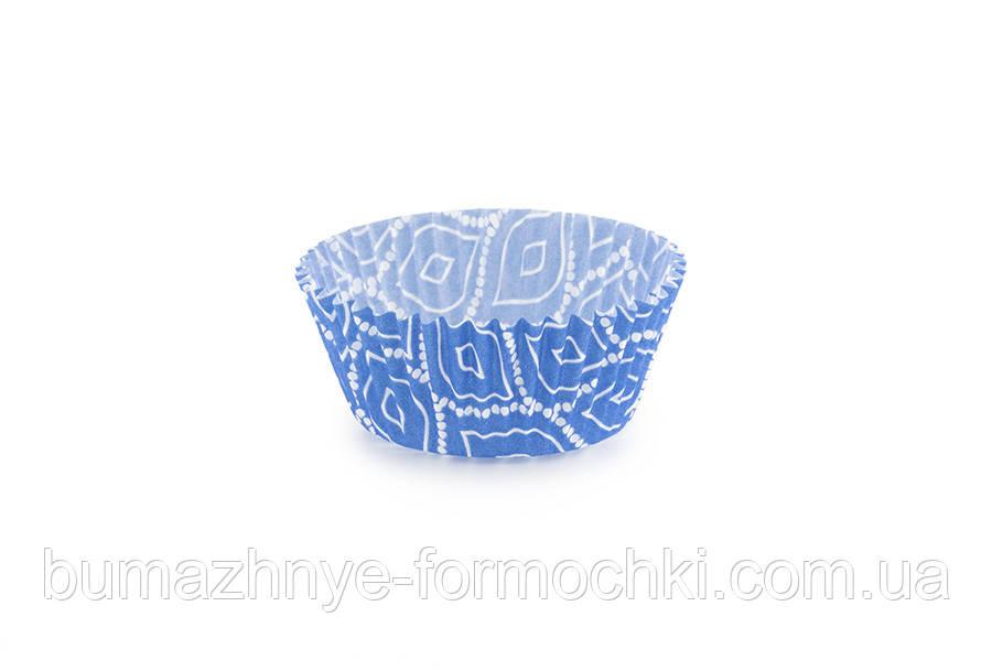 Бумажные формочки для капкейков, синие с узором 45х26