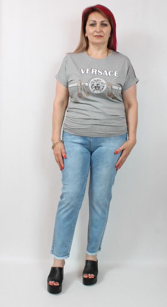 Турецкая женская футболка со стразами, батал 50-56