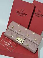 Кожаный женский клатч-кошелек Valentino / Женский клатч из натуральной кожи, цвет пудра