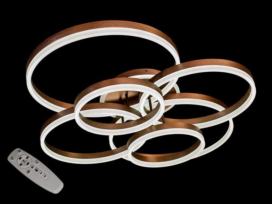 Потолочная LED-люстра с диммером и подсветкой цвет коричневый 225W Diasha&8815/6CF