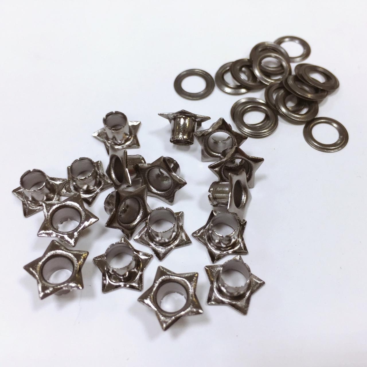 Люверсы стальные №03 5мм звезда цв никель (уп 100шт)