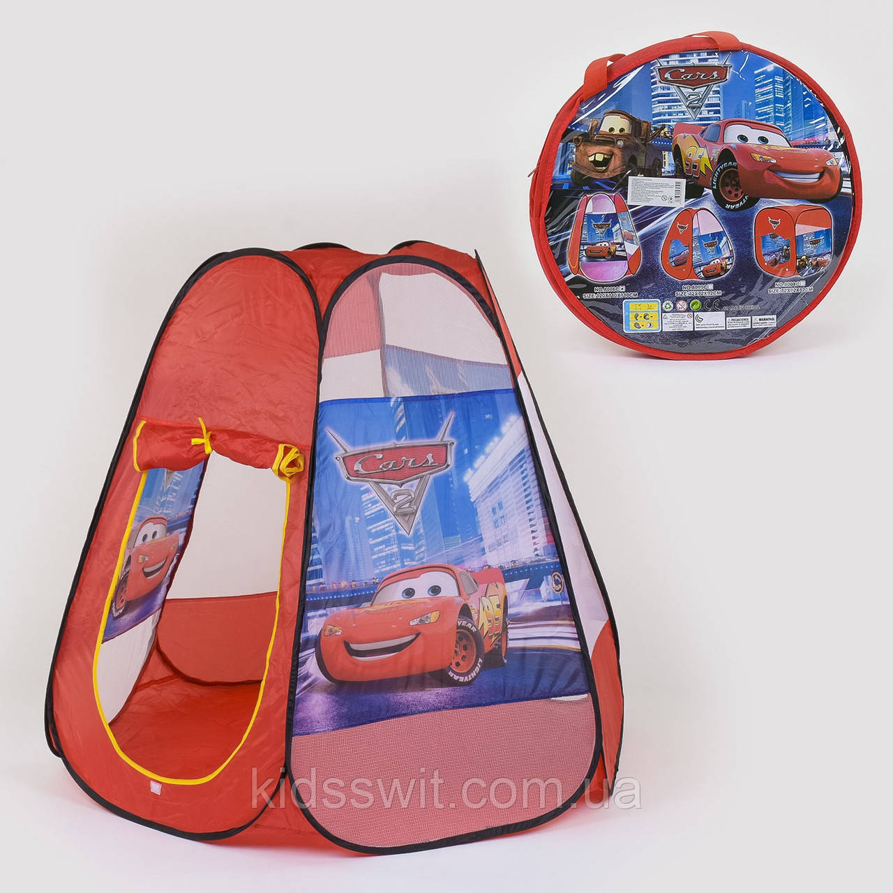 "Палатка детская ""Тачки"" 120 х110 х110 см, в сумке 8006 C"