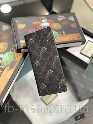 Кожаное портмоне Gucci тигр   Бумажник серый Гуччи   Карманный кошелек тигры Gucci под карты