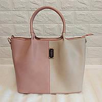 Женская сумка большая летняя комбинированная ( розовый/бежевый)