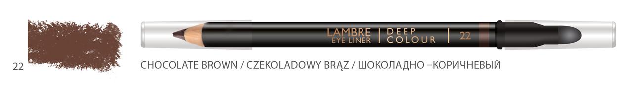 Карандаш для глаз LAMBRE Deep Colour Eye Liner №22 Chocolate brown/Шоколадно-коричневый