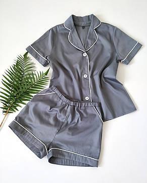 Жіноча піжама з сорочкою на короткий рукав і шортами сірого кольору, фото 2