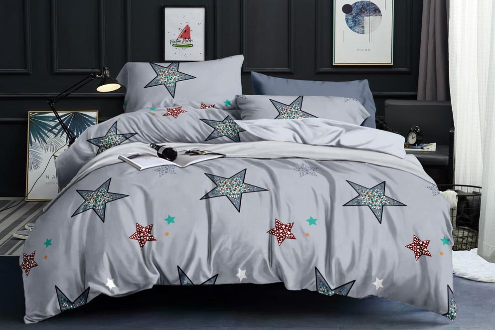 Полуторний комплект постільної білизни «Зоряний вечір» 147х217 см з сатину