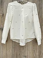 Шифонова блузка з перлами. 98 - 104 зростання.