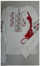"""Вишиванка дівч. Luxik """"Рута"""" ШМ33, 122 біла з червоним малюнок"""