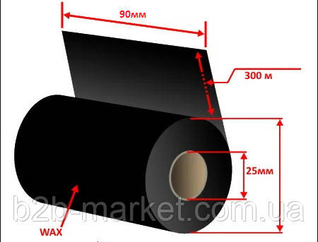 Рібон 110мм x 300м WAX RF12