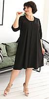 Шелковое черное вечернее платье больших размеров 52, 54, 56, 58