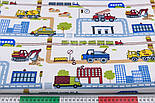 "Лоскут ткани ""Транспорт и дороги в городе"" на белом фоне, № 2805а размер 39*80 см, фото 3"