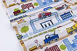 "Лоскут ткани ""Транспорт и дороги в городе"" на белом фоне, № 2805а размер 39*80 см, фото 4"