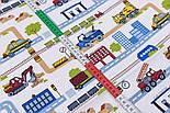 "Лоскут ткани ""Транспорт и дороги в городе"" на белом фоне, № 2805а размер 39*80 см, фото 5"
