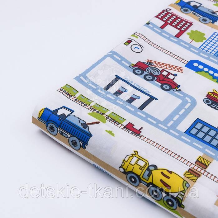 "Лоскут ткани ""Транспорт и дороги в городе"" на белом фоне, № 2805а размер 39*80 см"