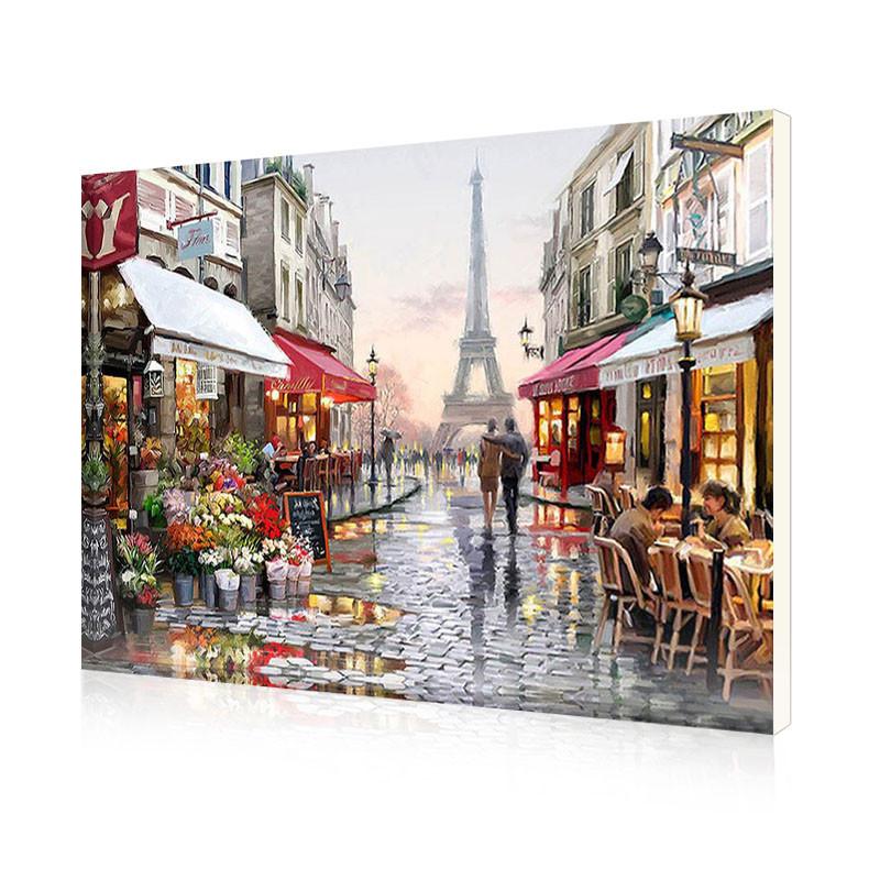 """Картина по номерам Lesko E-190 """"Цветочный магазин Парижа"""" набор для творчества на холсте 40-50см рисование"""