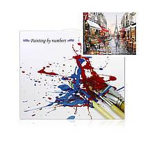 """Картина по номерам Lesko E-190 """"Цветочный магазин Парижа"""" набор для творчества на холсте 40-50см рисование, фото 3"""