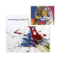 """Картина по номерам Lesko E-506 """"Радужный Тигр"""" набор для творчества на холсте 40-50см рисование, фото 3"""