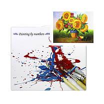 """Картина по номерам Lesko Y-5284 """"Подсолнух с цветами"""" набор для творчества на холсте 40-50см рисование, фото 3"""