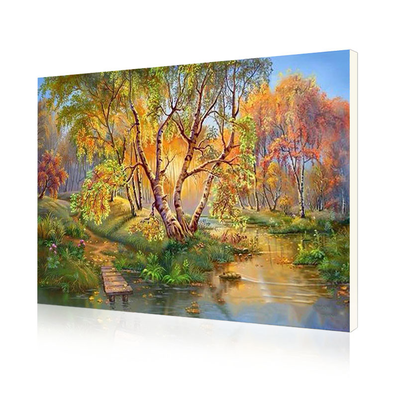 "Картина по номерам Lesko PH-9516 ""Березы осенью"" набор для творчества на холсте 40-50см рисование"