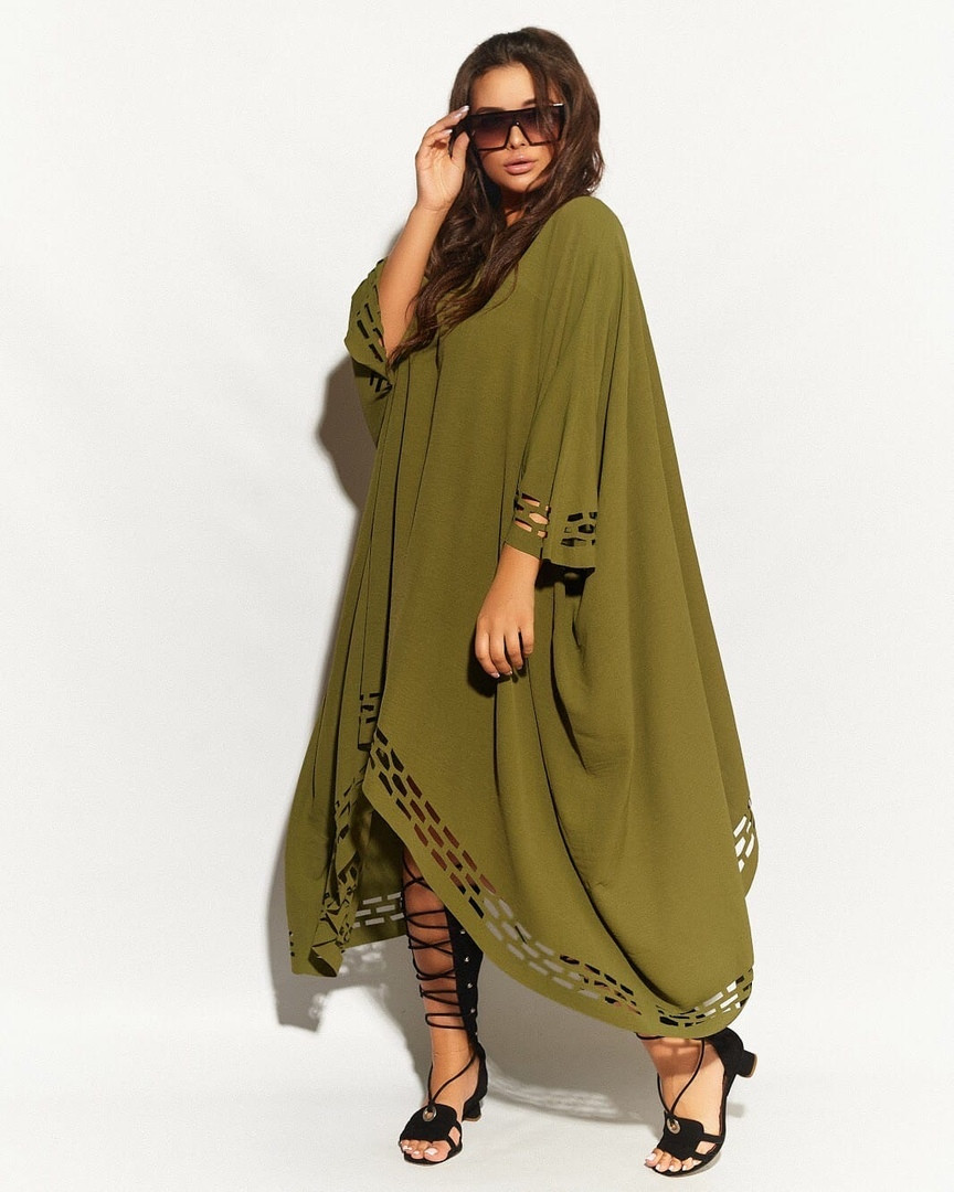 Женское платье балахон больших размеров 50-60 хаки