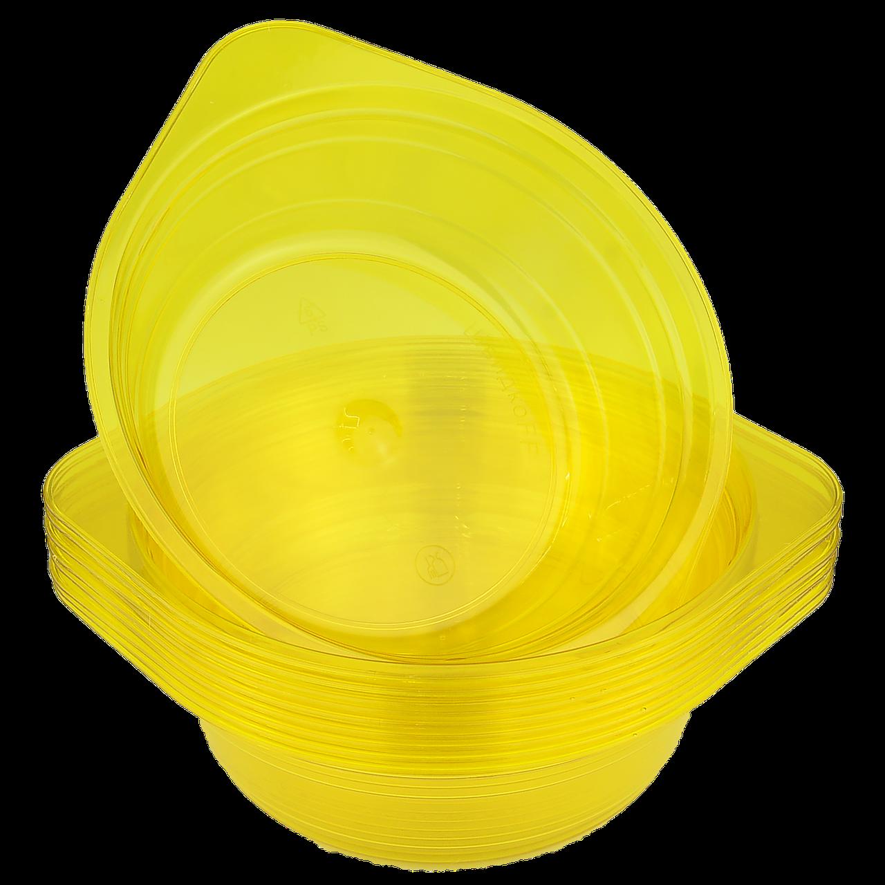 Миска стеклоподобная желтая 0,5л 10шт (1ящ/40уп)