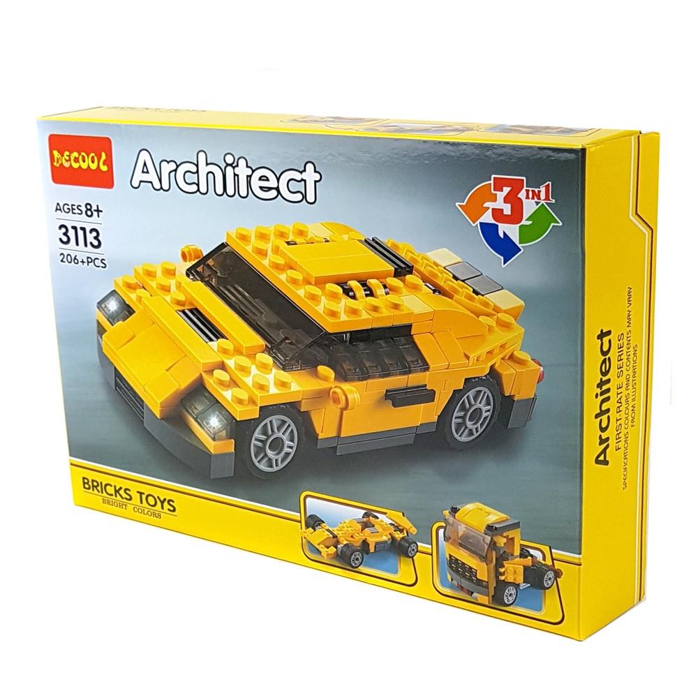 Конструктор Decool Машинка 3 в 1 206 деталей (3113)