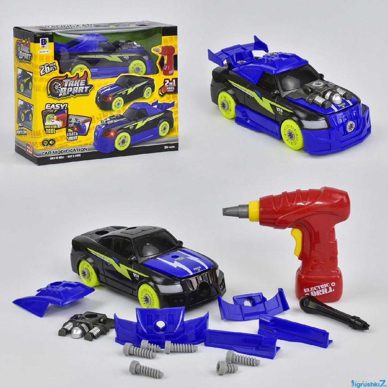 Машина-конструктор 2в1 661-411 (24) 26 деталей, світло, звук, шуроповерт, в коробці