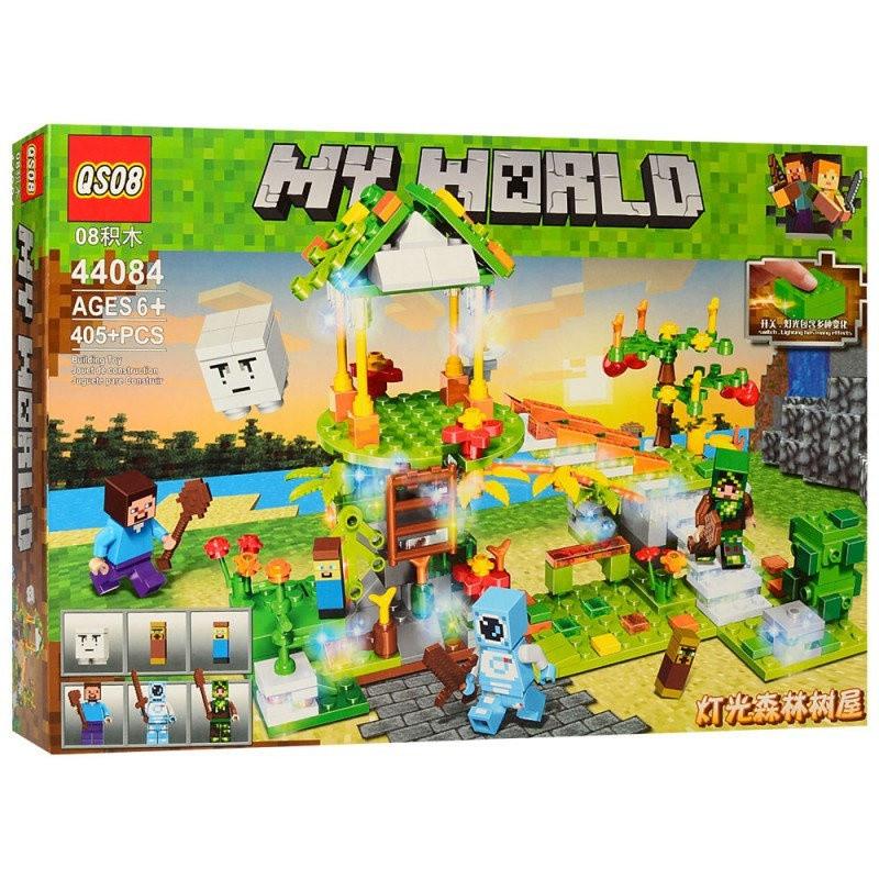 Конструктор за мотивами майнкрафт (Minecraft) Чарівний ліс, 405 деталей будівля фігурки, копія лего 44084