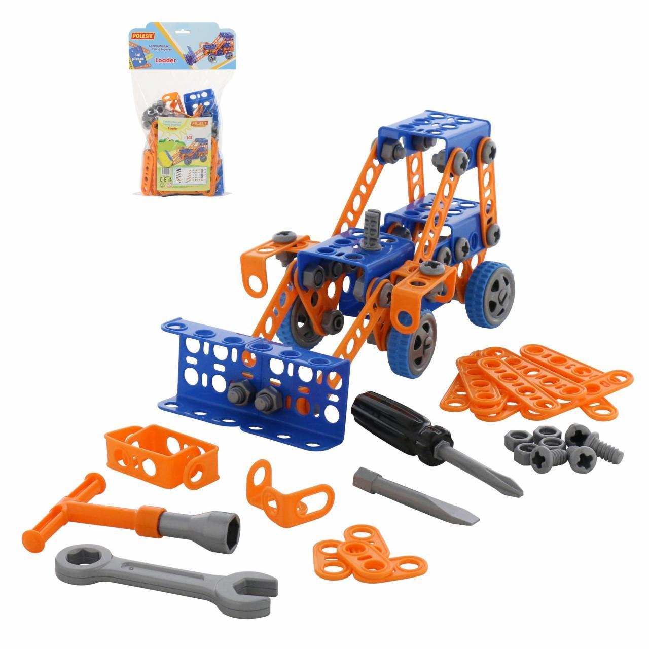 """Конструктор """"Винахідник"""" - """"Трактор-навантажувач №1"""" (141 елемент) (у пакеті) 55064"""