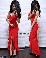 Вечернее длинное женское платье с разрезом на ноге и декольте арт 4024