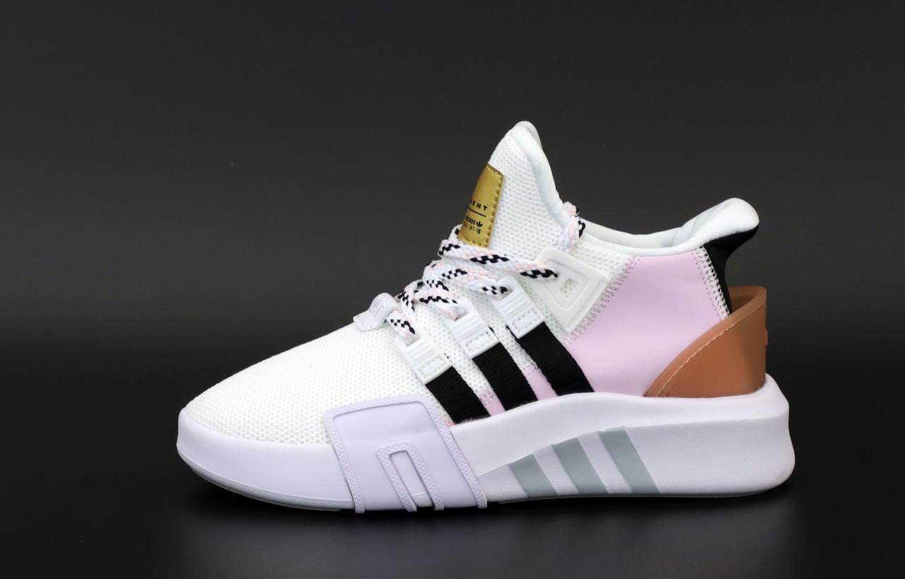 Женские кроссовки Adidas EQT в стиле Адидас Эквипмент БЕЛЫЕ РОЗОВЫЕ (Реплика ААА+)