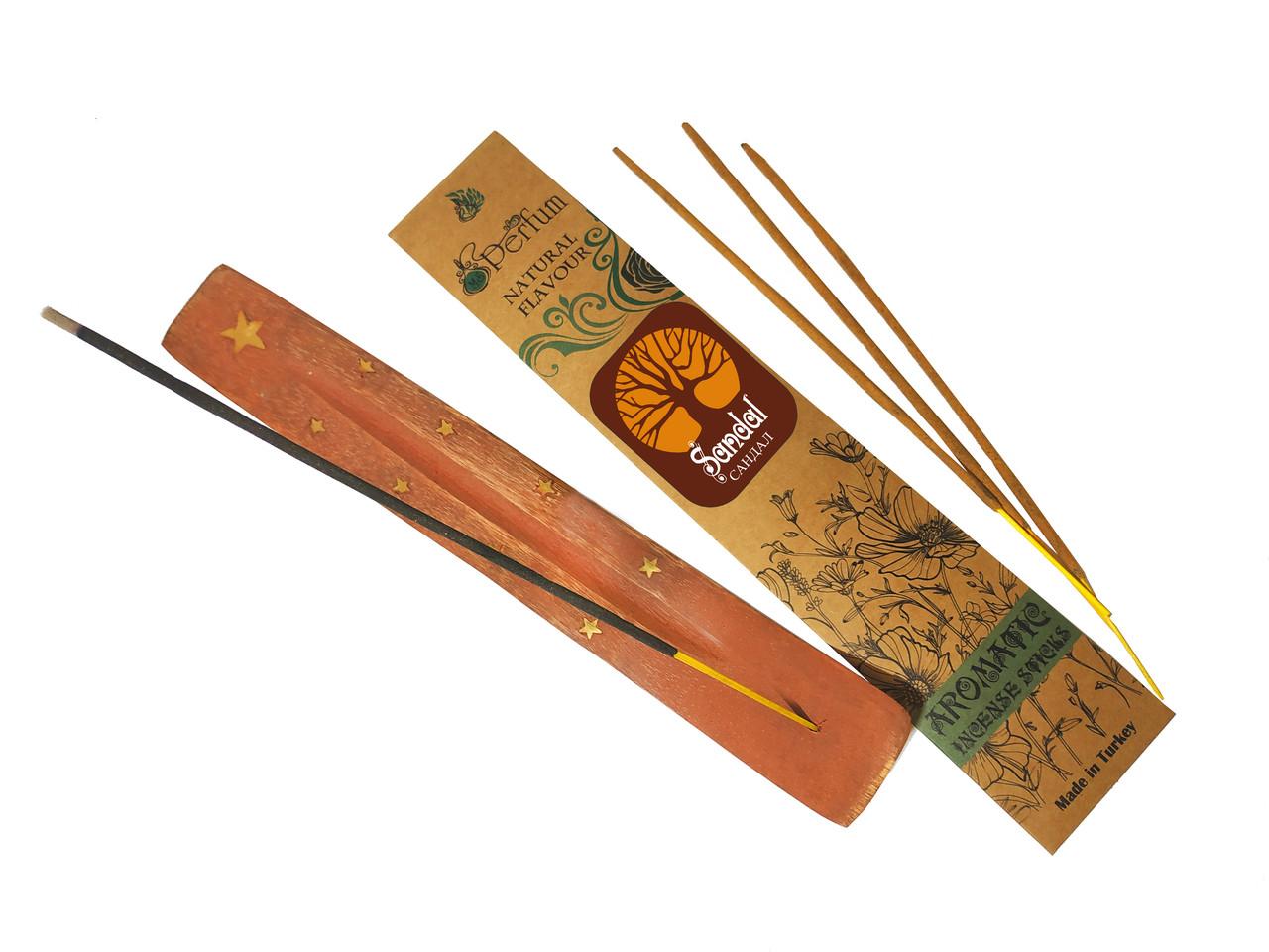 Набор: аромапалочки с ароматом сандала + деревянная подставка под благовония