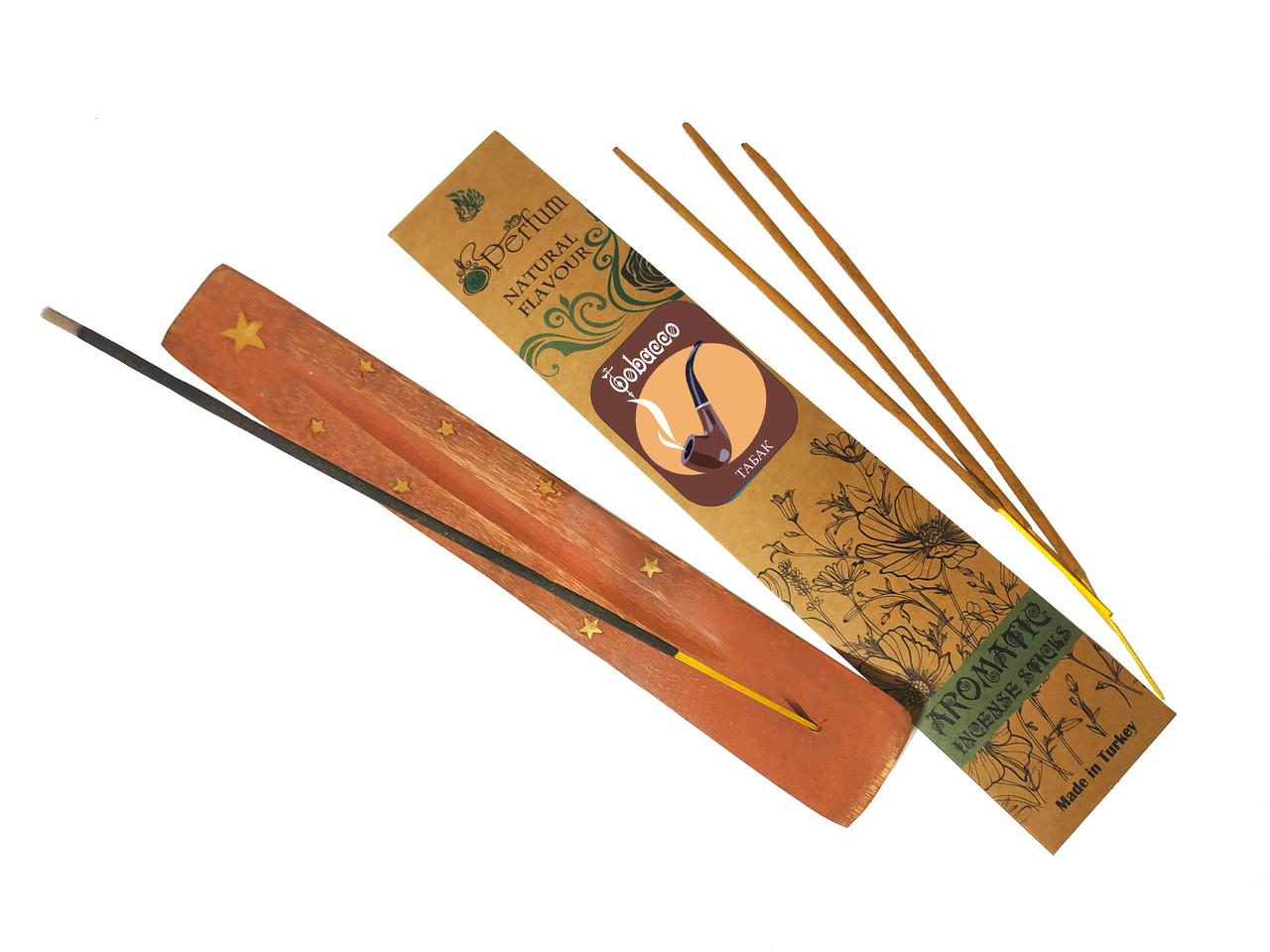 Набор: аромапалочки с ароматом табака + деревянная подставка под благовония