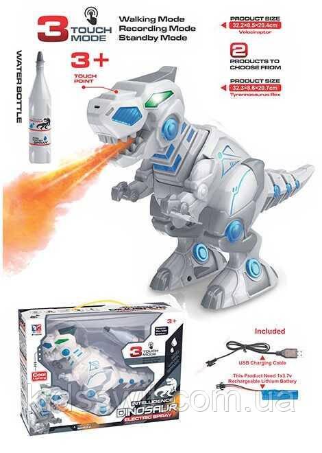 Робот-Динозавр, акумулятор 3.7 V, звуки, підсвічування, випускає пар, ВТ 2235 Е