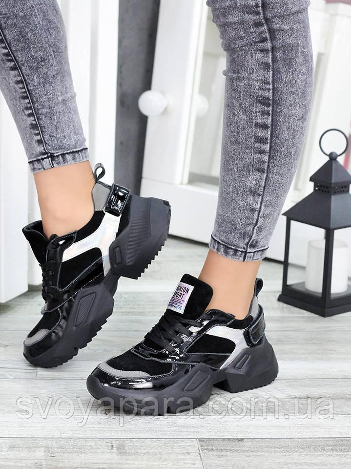 Кроссовки кожаные Ba!enc!aga черные 7449-28 (37р. 24 см.)