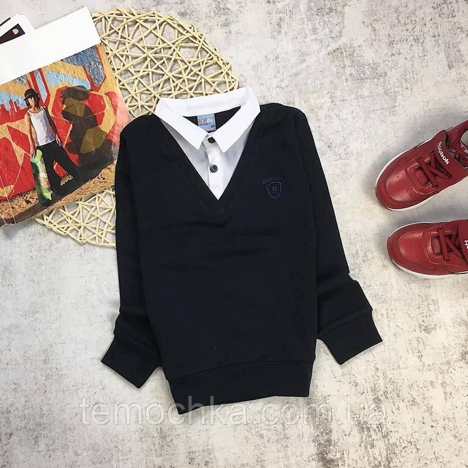 Черный базовый повседневный реглан кофта обманка с рубашкой 2 в 1 для мальчика в школу