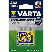Аккумулятор Varta Recharge Accu AAA/HR03 Ni-MH 1000 mAh BL 4шт