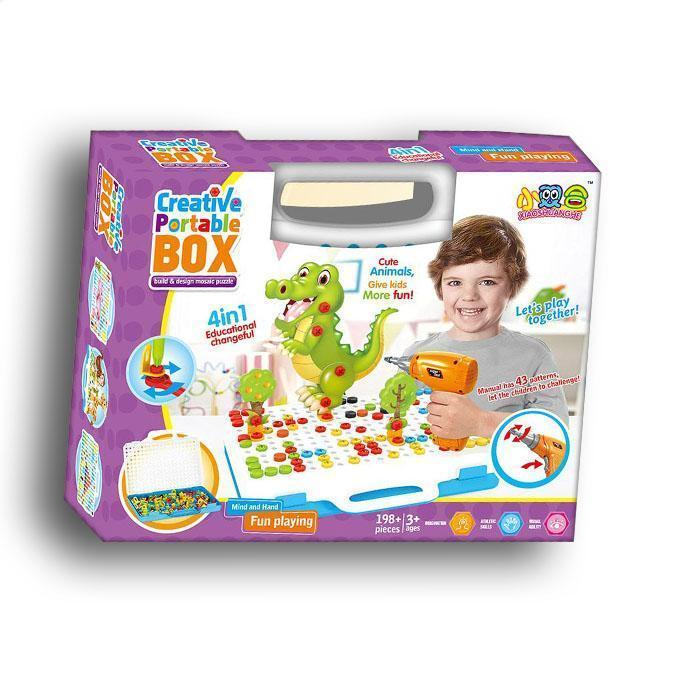 Конструктор-мозаика Creative Portable Box с шуруповертом