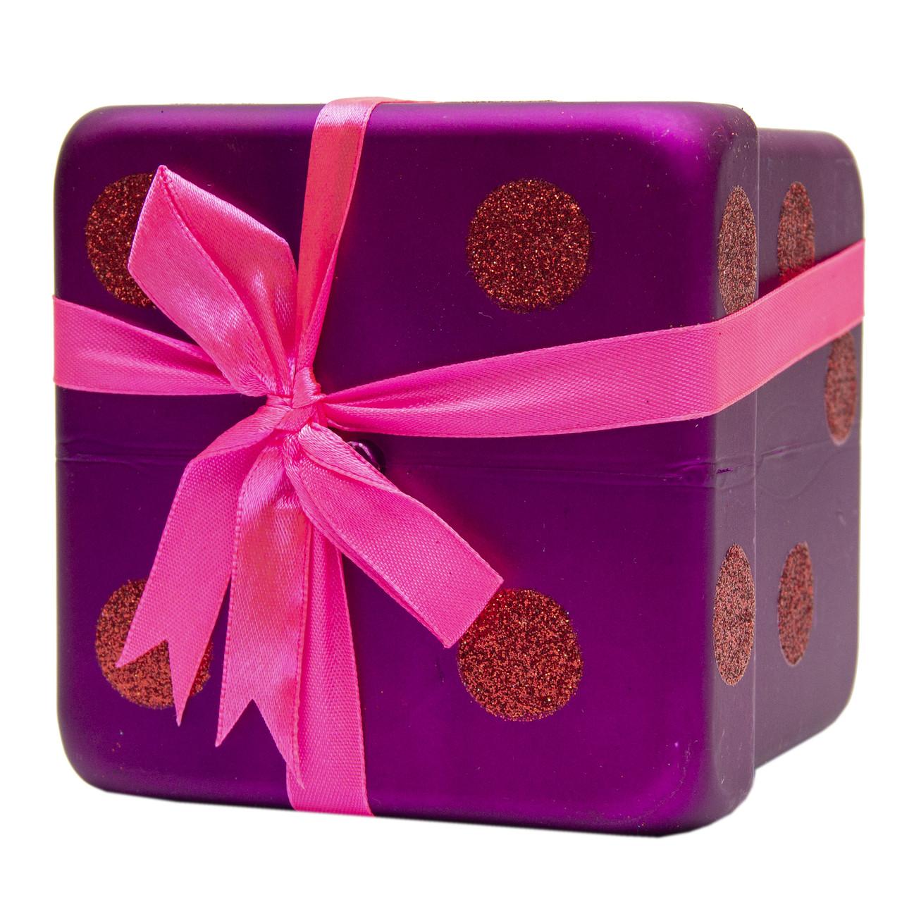 Подарок с бантом матовый 10см, пластик, сиреневый (110247-6)