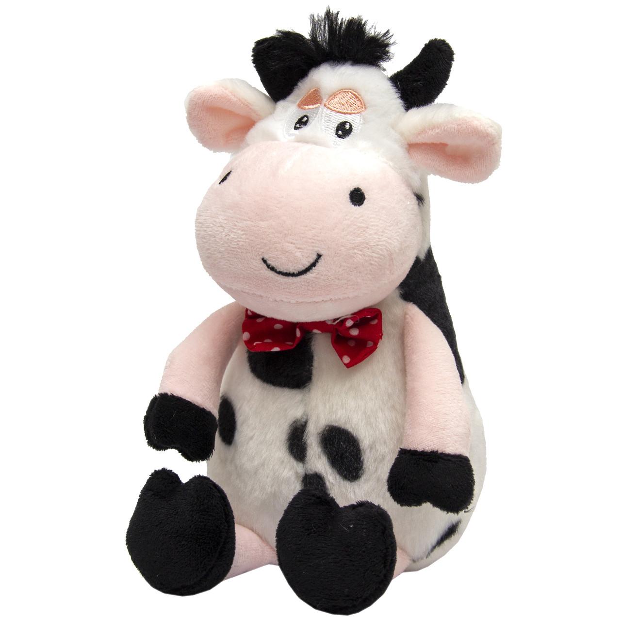 Мягкая игрушка - бык с бабочкой, 18 см, черно-белый, плюш (394707)