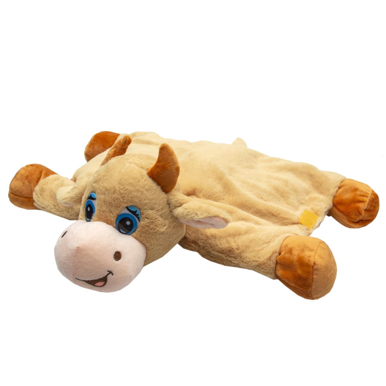 Мягкая игрушка - подушка бык, 40 см, бежевый, плюш (394769)