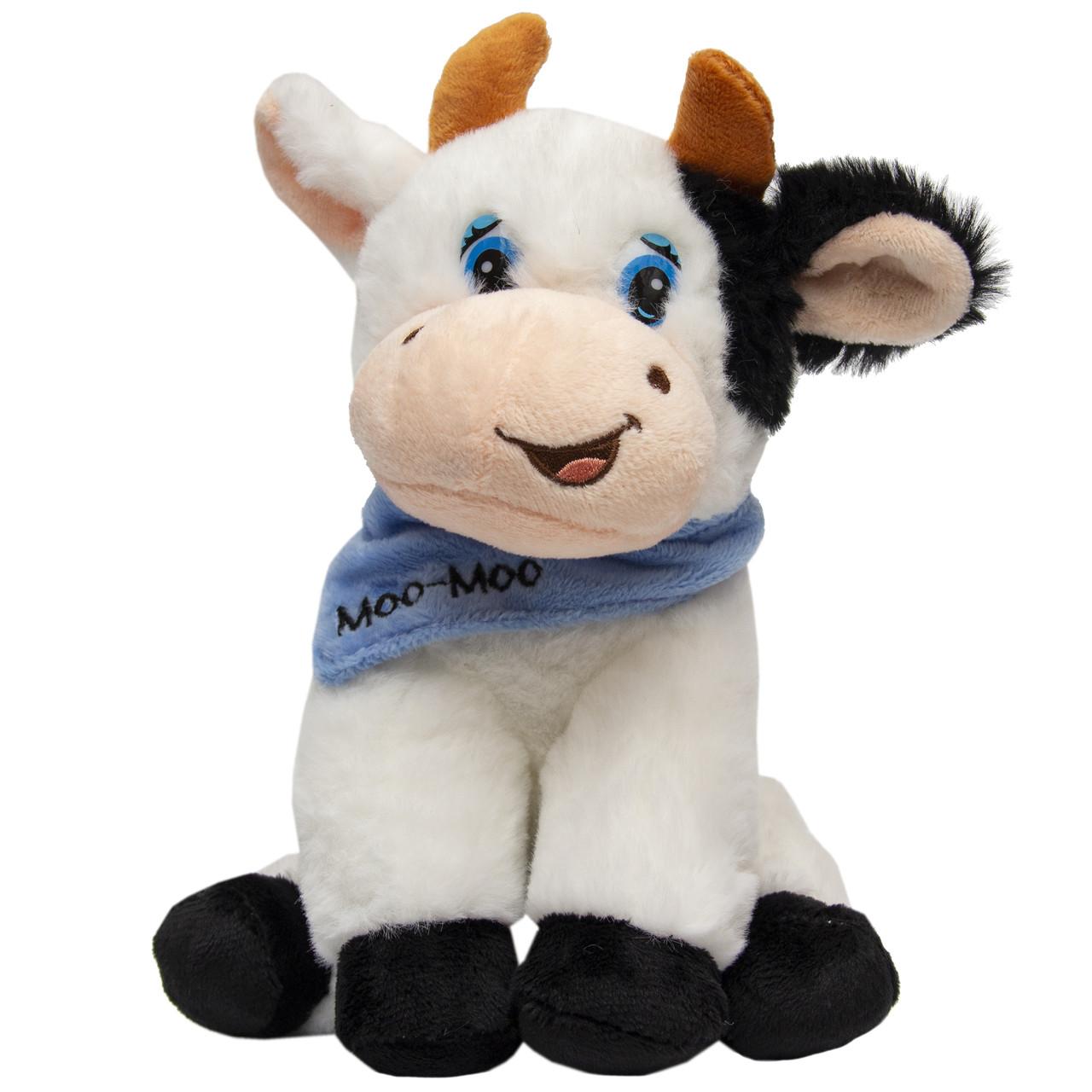 Мягкая игрушка - бык в платочке, 19 см, бело-черный, полиэстер (394981)