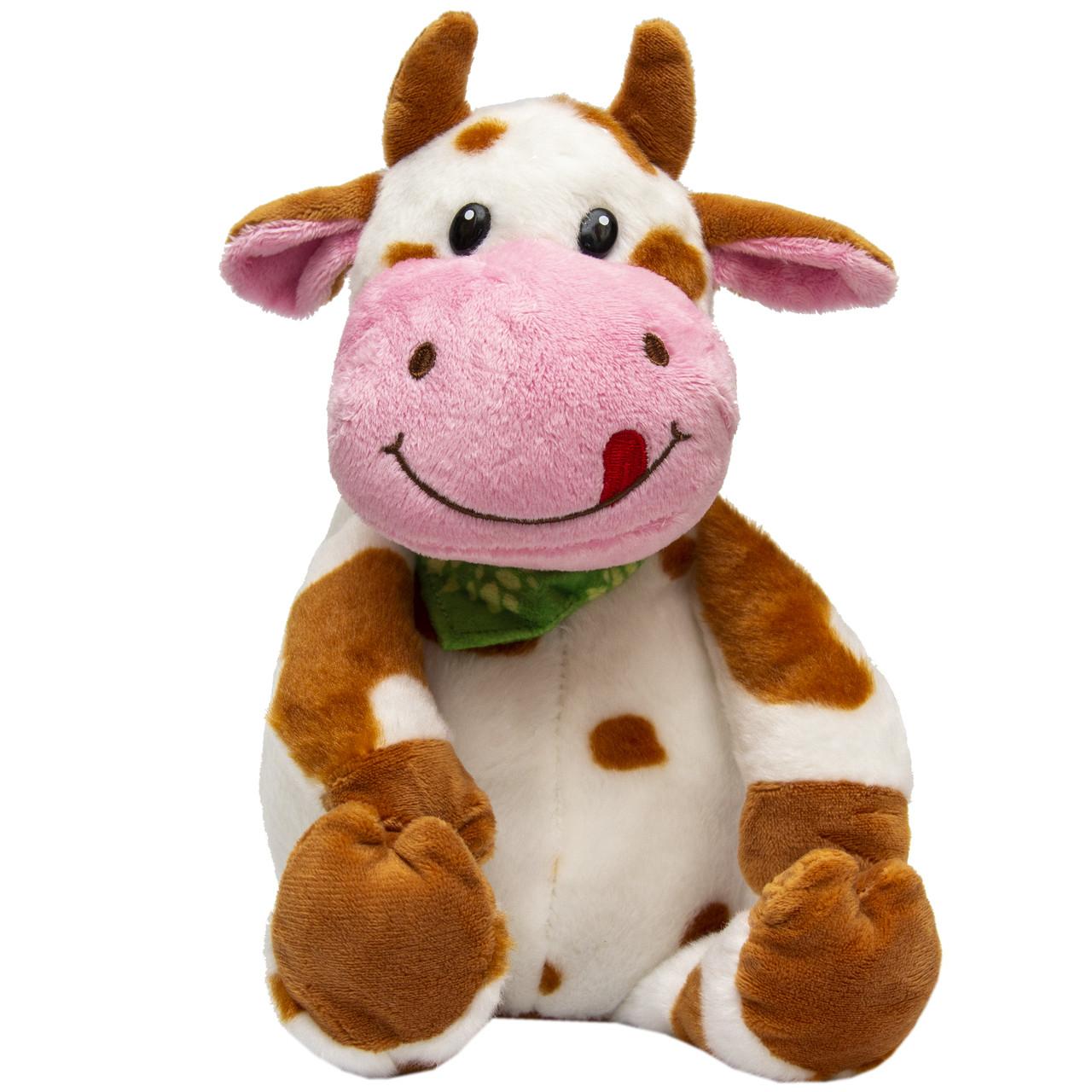 М'яка іграшка - бик з хустинкою, 23 см, біло-рудий, плюш (395094)