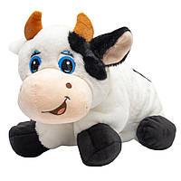 Мягкая игрушка - подушка бык, 40 см, черно-белый, плюш (395100)