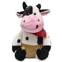 Мягкая игрушка - бык в штанишках, 23 см, черно-белый, плюш (395117)