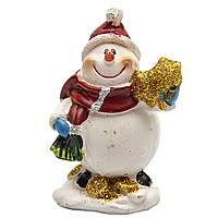 Фигурка сувенирная Снеговик с подарком в левой руке, 7 см (440504-1)